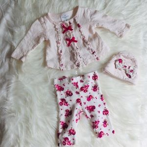 Laura Ashley Outfit, 3 pc set. 0-3 Months